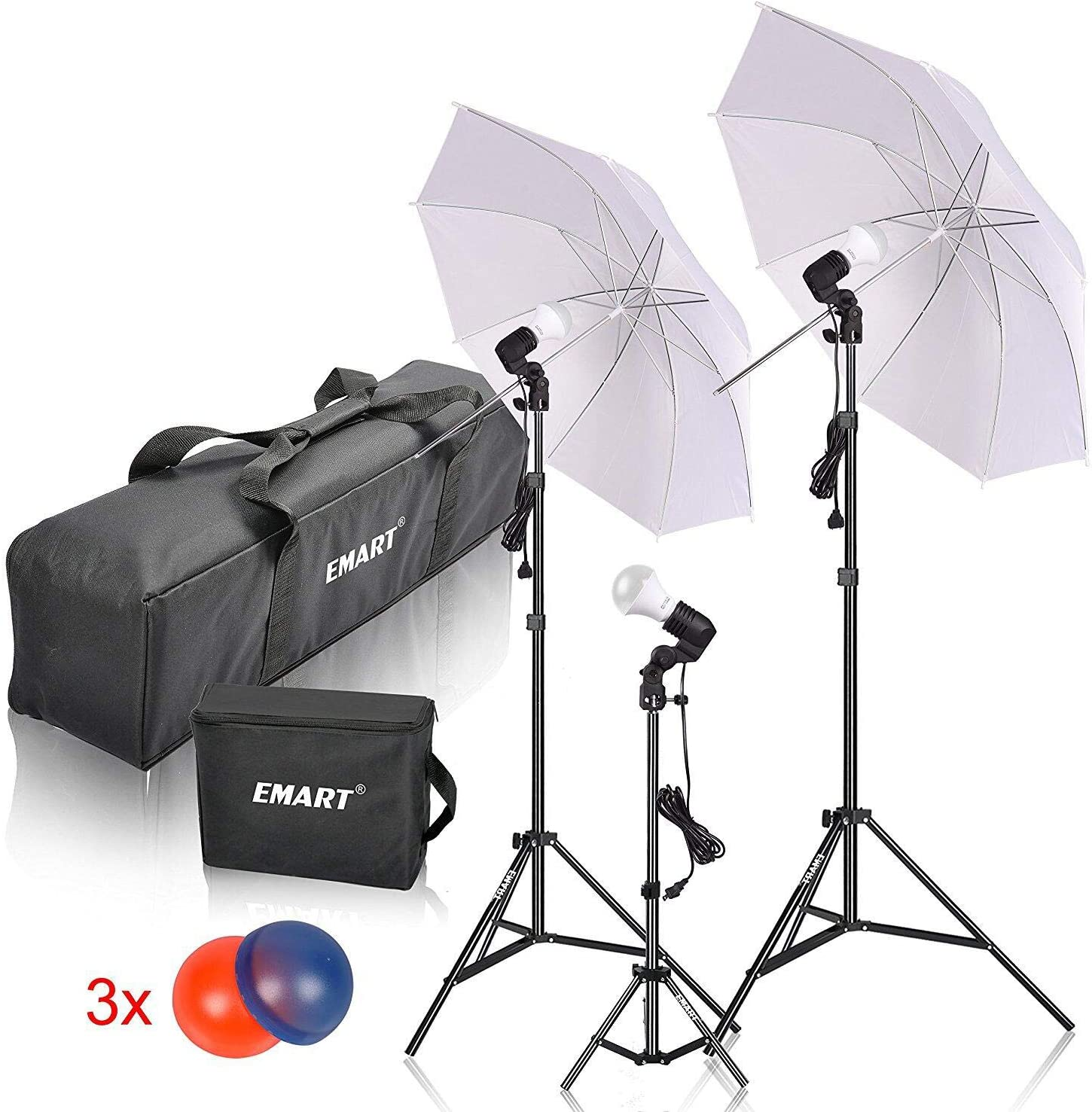 Umbrella Reflector Light Emart Studio LED Photography Umbrella Lighting Kit Continuous Lighting 500W 5500K LED Photo Lights for Camera Lighting Portrait Video Shooting