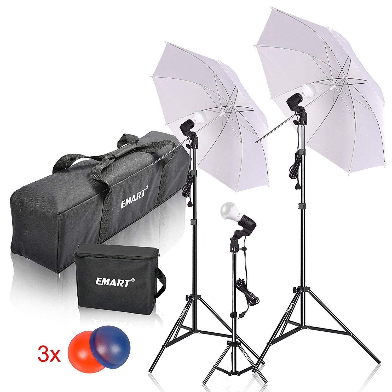 Emart Studio LED Photography Umbrella Lighting Kit, 500W 5500K LED Photo Lights for Camera Lighting, Continuous Lighting, Portrait Video Shooting - Umbrella Reflector Light