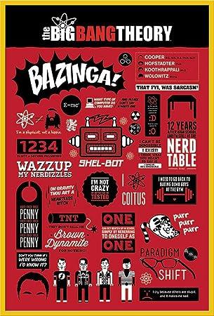 The Big Bang Theory - Infographic - FilmMaxi-Poster, Druck, Poster Kino Movie TV-Serie Kindersendungen - Grösse 61x91,5 cm + Wechselrahmen der Marke Shinsuke® Maxi aus Kunststoff Gelb - mit Acrylglas-Scheibe.