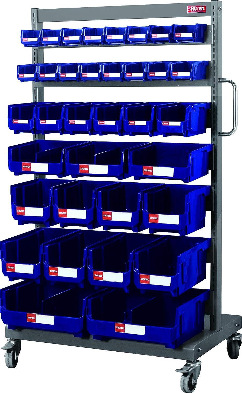 Stackable Component Organizer and Hanging Storage for Craft Garage Workshop Warehouse and Hardware HB-250-Blue Shuter 21L Plastic Storage Parts Bin