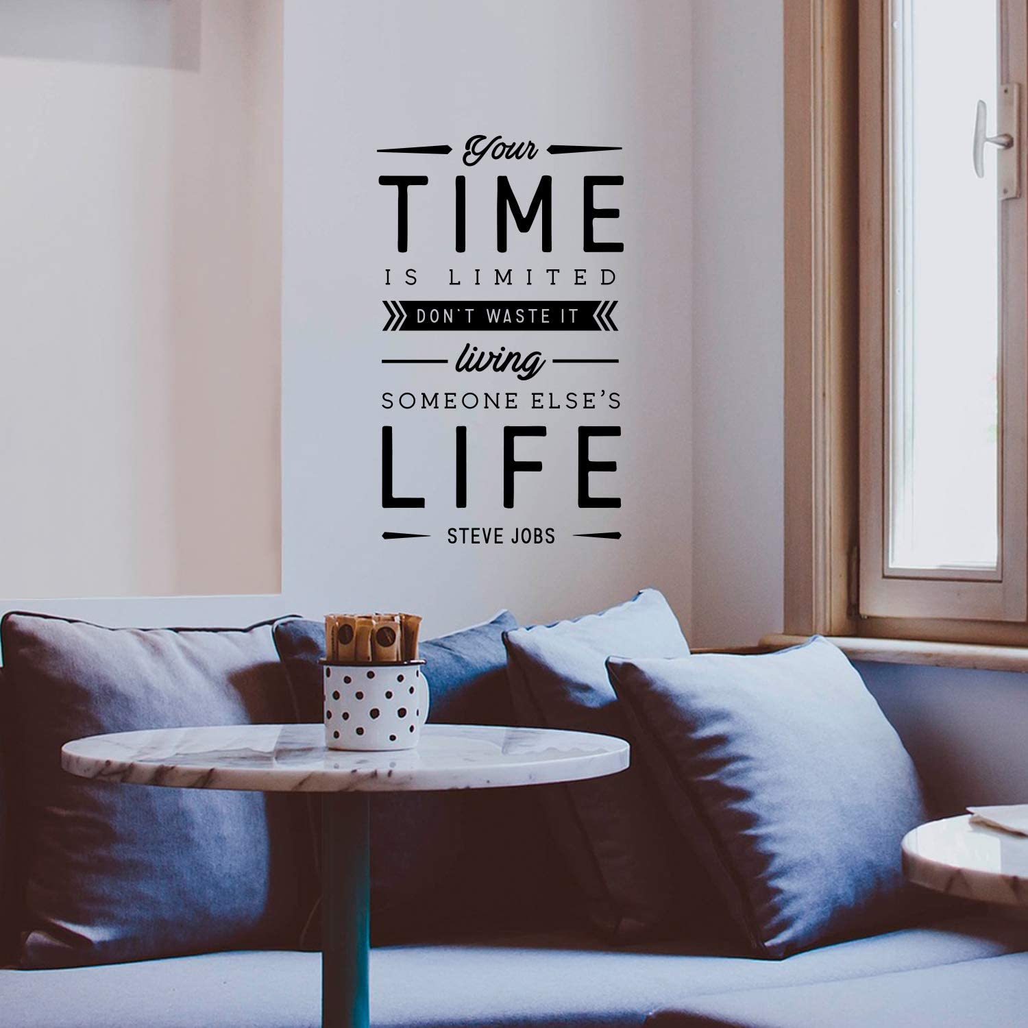 Amazon Com Vinyl Wall Art Decal Your Time Is Limited Don T Waste It 22 5 X 14 Steve Jobs Motivational Quote For Home Bedroom Apartment Living Room Decor Inspirational Workplace