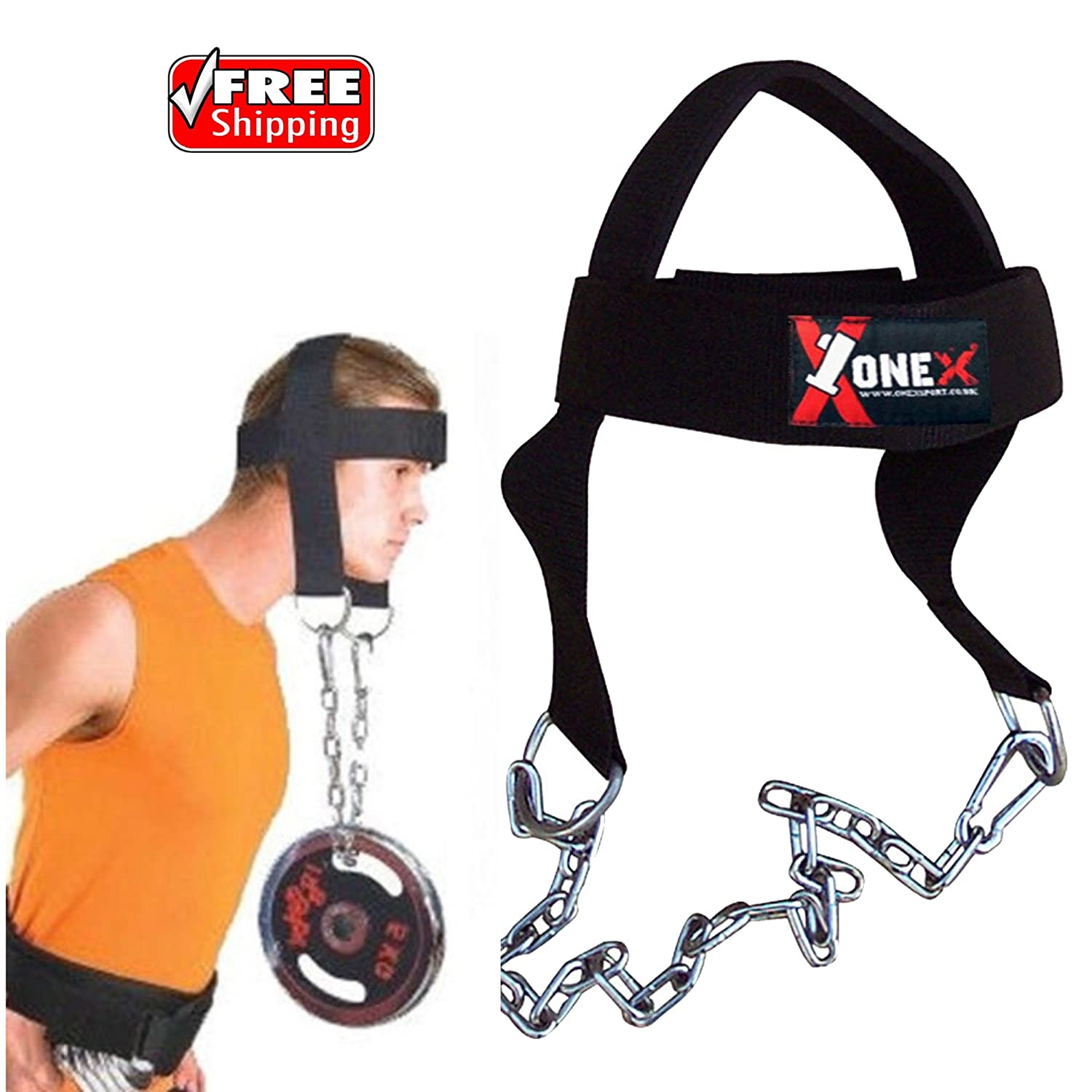 Gym Head Harness Neck Head Harness for Resistance Training by Universal Fitness. Extra-Heavy D-Rings and Steel Chain, Comfort Fit Neoprene, Superior Saddle Stitching. Build A Thicker Neck with Durable Exercise Neck Strap onex
