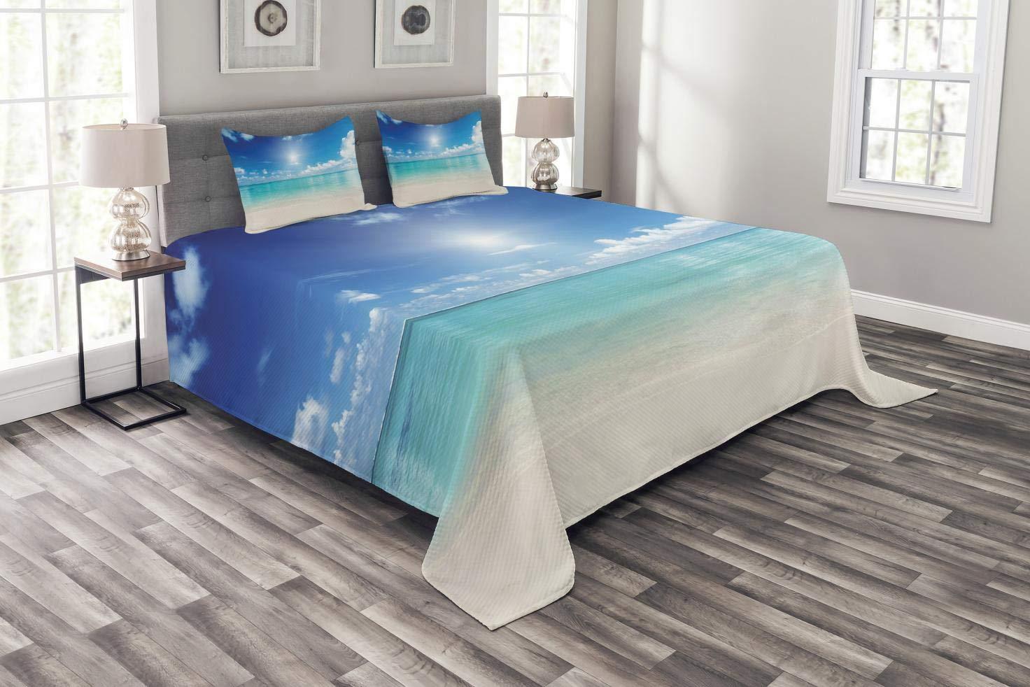 Abakuhaus Ozean Tagesdecke Set, Himmel und tropisches Meer, Set mit Kissenbezügen Kein verblassen, für Doppelbetten 264 x 220 cm, Türkis Weiß Creme