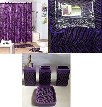 complete bath accessory set black purple zebra animal print bath rug set black zebra