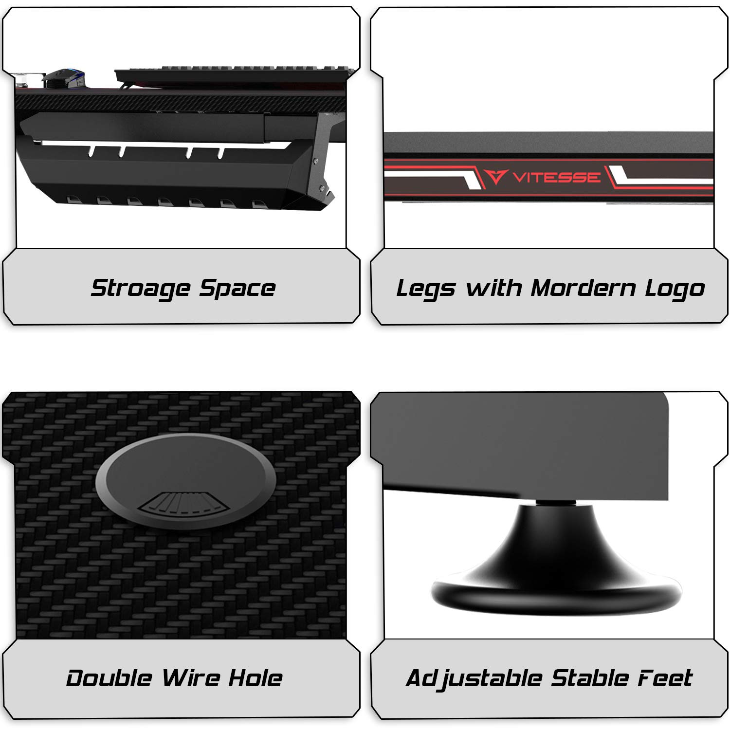 Vitesse 47 inches Gaming Desk Racing Style Computer Table with Free Mouse pad, T-Shaped Professional Gamer Workstation PC Office Desk with Cup Holder & Headphone Hook by Waleaf (Image #6)