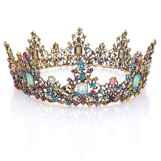 Yean Wedding Round Crown and Tiara Rhinestones Headband for Women and Girls (Multi)