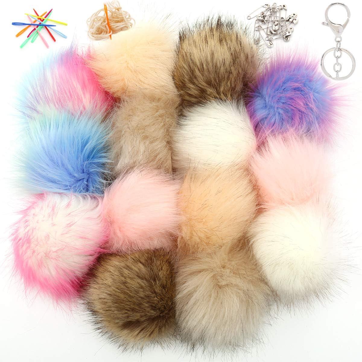 14 Pieces Faux Fox Fur Pom Poms Ball for Hats Scarves Shoes Bag Key Chain DIY Charms Ornament