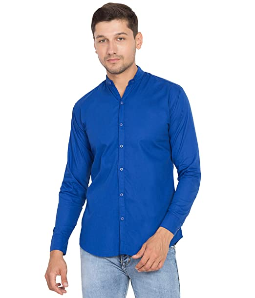 db6cc58d0 Cliths Royal Blue Cotton Chinese Collar Casual Shirt for Men (Royal Blue, S)