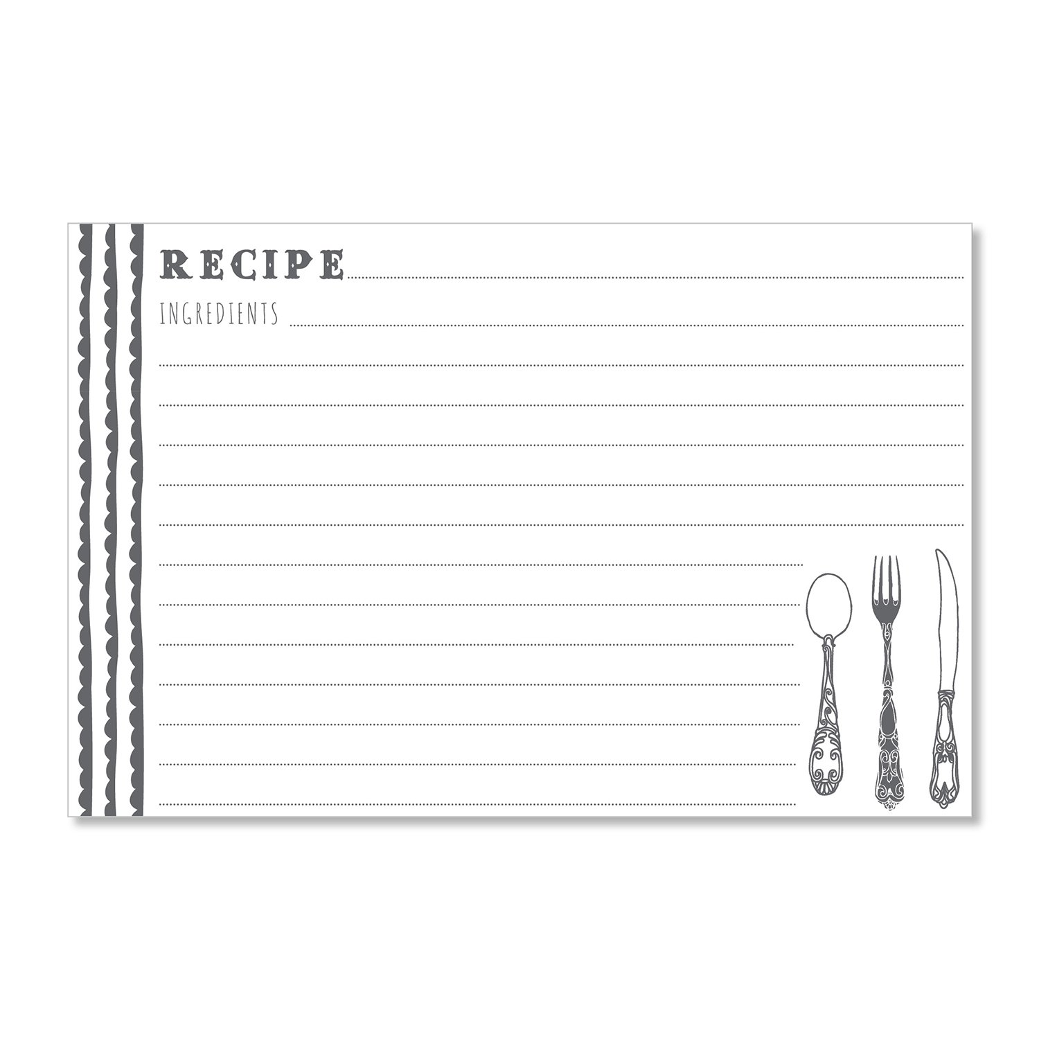 C.R. Gibson 40 Count Recipe Cards, Lined Back To Front, Cards Measure 4'' x 6'' - Charcoal/White