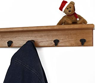 """product image for PegandRail Solid Cherry Shelf Coat Rack with Aged Bronze Single Style Hooks (Cherry, 16"""" with 3 Hooks)"""