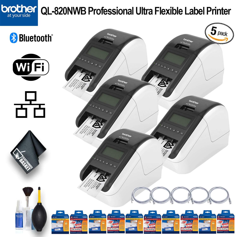 Essential Bundle Brother QL-820NWB Professional Ultra Flexible Label Printer