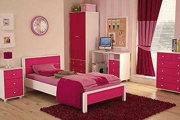 Miami Pink Girls Bedroom Furniture Range - Wardrobe, Bed, Drawers ...