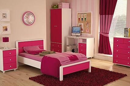 Miami Pink Girls Bedroom Furniture Range - Wardrobe, Bed, Drawers, Bedside,  Desk#5 Piece Set