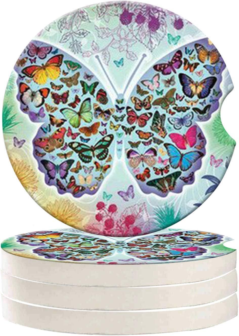 FQJNS Butterfly Custom Image Ceramic Car Coaster Auto Supplies Accessories Beverage Car Coaster 4-Piece Set 2.56 Inches Diameter
