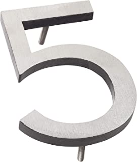 "product image for Montague Metal Products MHN-6-F-BK2-5 Solid Brushed Aluminum Modern Floating Address House Numbers, 6"", Satin Nickel Powder Coated Black Two-Tone"