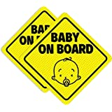 BabyPop! 2 Pack Baby On Board Sticker Sign for Cars, No Residue and See Through Safety Cute Design 2 Pack