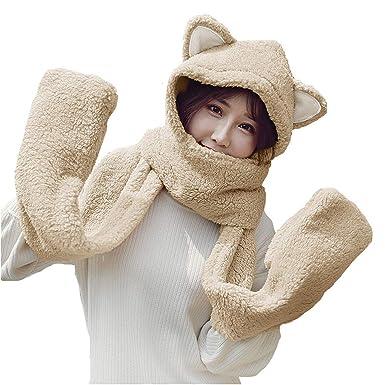 14c2dc38154 Femme Chapeau avec Un Foulard de Gants Gant Cagoule Bonnet 3 Set d hiver  Écharpe