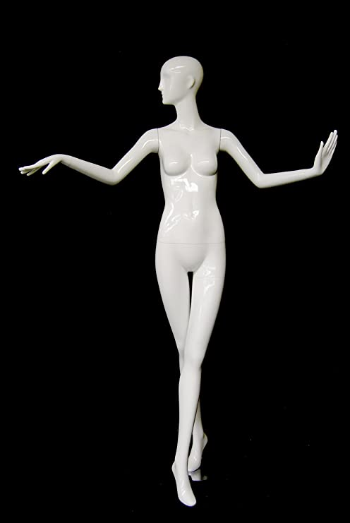 with 2 arms open standing pose. MD-XD12W ROXYDISPLAY/™ Abstract Female Mannequin Glossy White Fiberglass