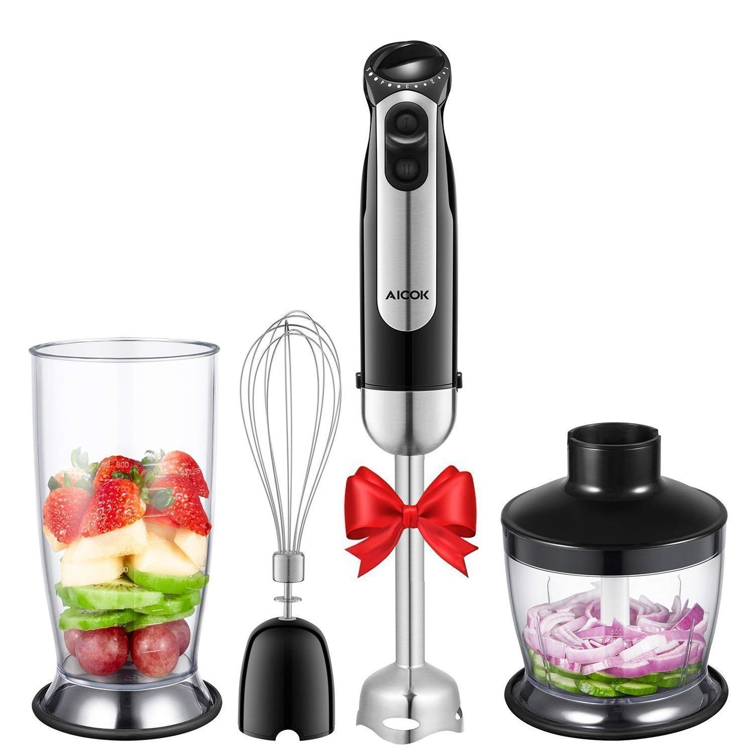 Hand Blender, Aicok 4-in-1 Immersion Stick Blender with 12 Speed Control - Powerful Hand Mixer Sets Include Chopper, Whisk, BPA Free Beaker, for Soups, Smoothie, Baby Food - Stainless Steel