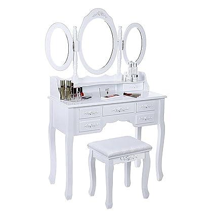 Amazon Com Tg888 White Table Makeup Desk Tri Folding Mirror Vanity