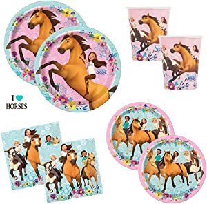 Spirit Riding Free Horse Birthday Party Supplies Set - Plates, Cups, Napkins and Sticker