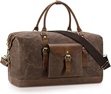 Plambag Oversized Duffel Bag, Water-Repellent Canvas Leather Trim Overnight Luggage Bag(Coffee)