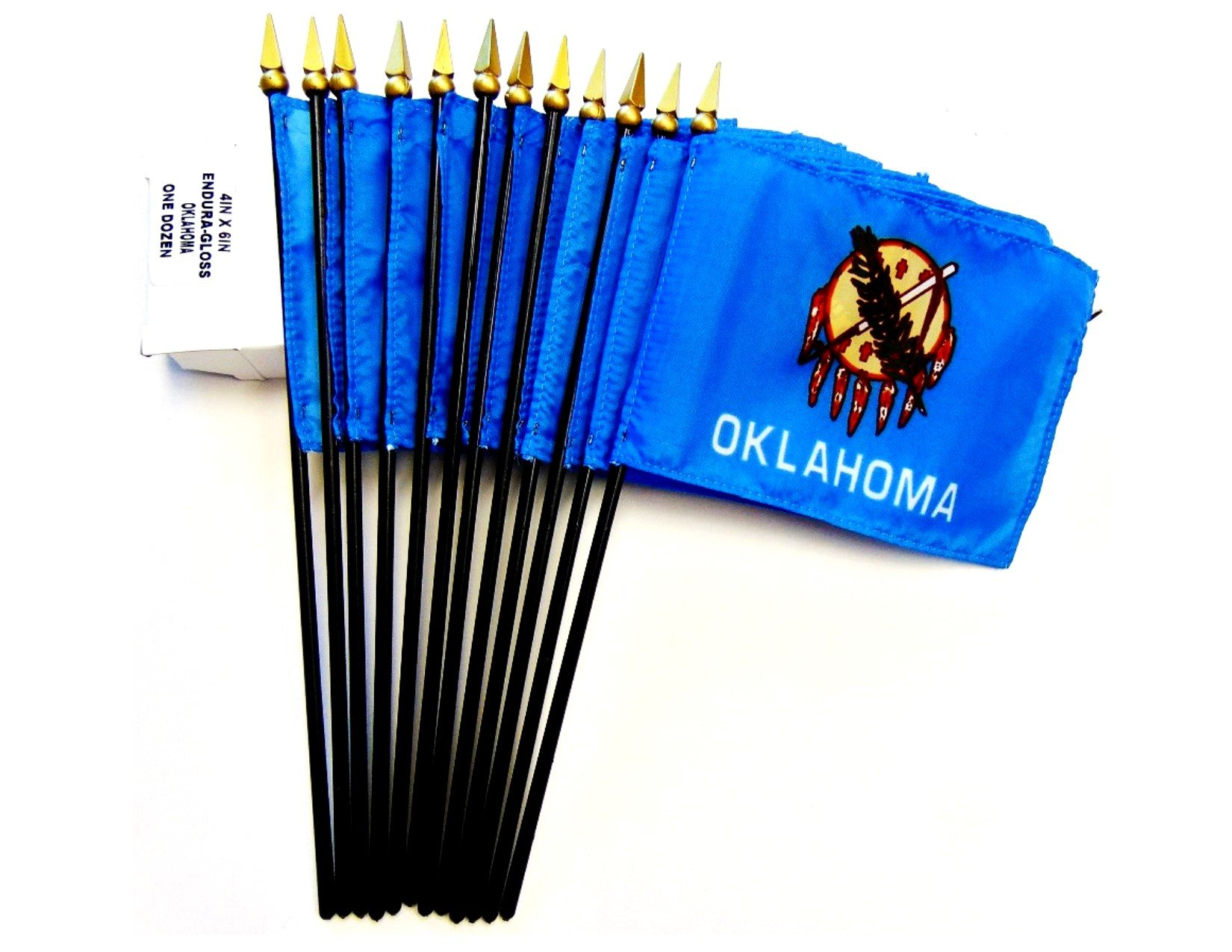 MADE IN USA!! Box of 12 Oklahoma 4''x6'' Miniature Desk & Table Flags; 12 American Made Small Mini Oklahoma State Flags in a Custom Made Cardboard Box Specifically Made for These Flags