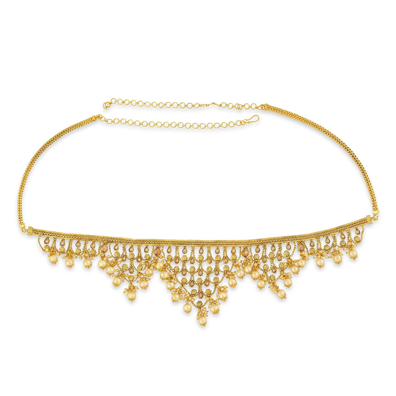 AccessHer Gold Color Copper Material Royal kamarband with drops