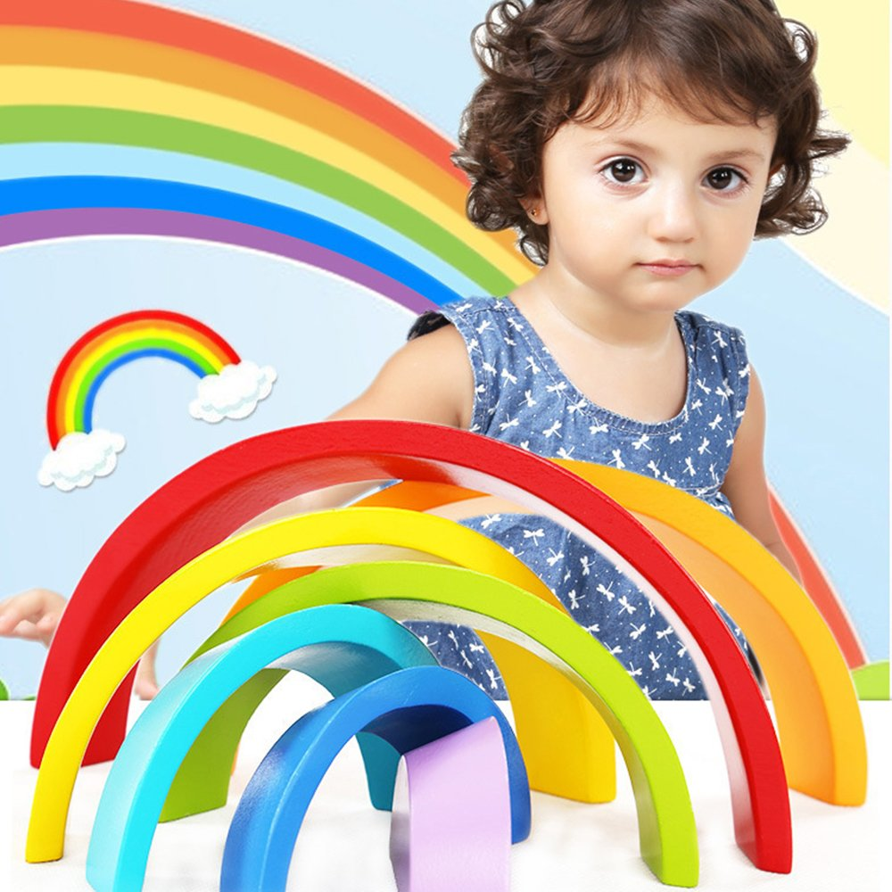 Rainbow Blocks Wooden Toys for Baby, Stacking Tower Games for Kids Toddler, Montessori Wood Building Block Game with Geometry Shape Educational Learning Nesting Toy - Infant Creative Puzzle Stacker
