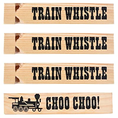 Wooden Train Whistles (Pack Of 12) Train Whistle for Kids Train Themed Party Favors, Noisemaker, Small Prize, Stocking Stuffers: Toys & Games