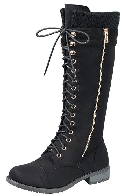 Forever Link Womens Sweater Cuff Lace Up Stacked Heel Knee High Combat Boot