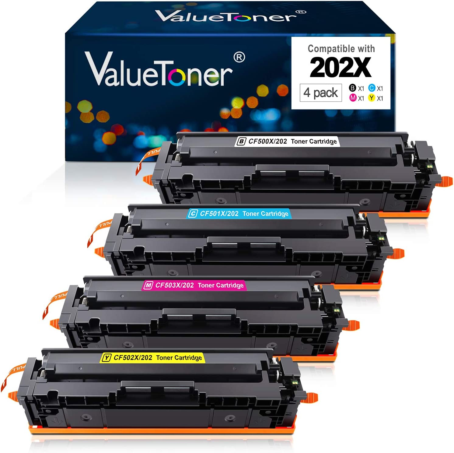 Valuetoner Compatible Toner Cartridge Replacement for HP 202X 202A CF500X CF500A Used with Laserjet Pro MFP M281fdw M254dw M281cdw M281dw Printer (1 Black, 1 Cyan, 1 Magenta, 1 Yellow, 4-Pack)