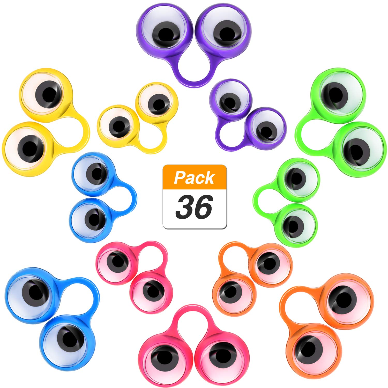 Jovitec 36 Stück Auge Fingerpuppen Googly Augen Ringe Augen auf Ringe Augapfel Ring Spielzeug für Kids Party Favor, 2 Größen, 6 Farben 2 Größen