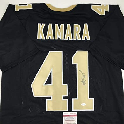 3911762e Image Unavailable. Image not available for. Color: Autographed/Signed Alvin  Kamara New Orleans Black Football Jersey JSA COA