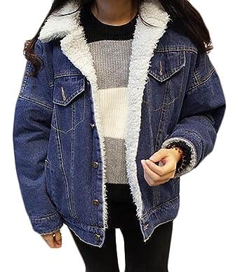 5d9c8bd1736c Papijam Womens Casual Wool Lined Lapel Loose Warm Outdoor Denim Jackets  Blue S