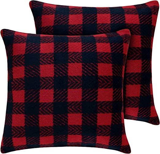 Deconovo Checkered Throw Pillowcase Cushion Cover Hand Made Pillow Case Cushion Cover for Sofa 18x18 Inch Dark Grey