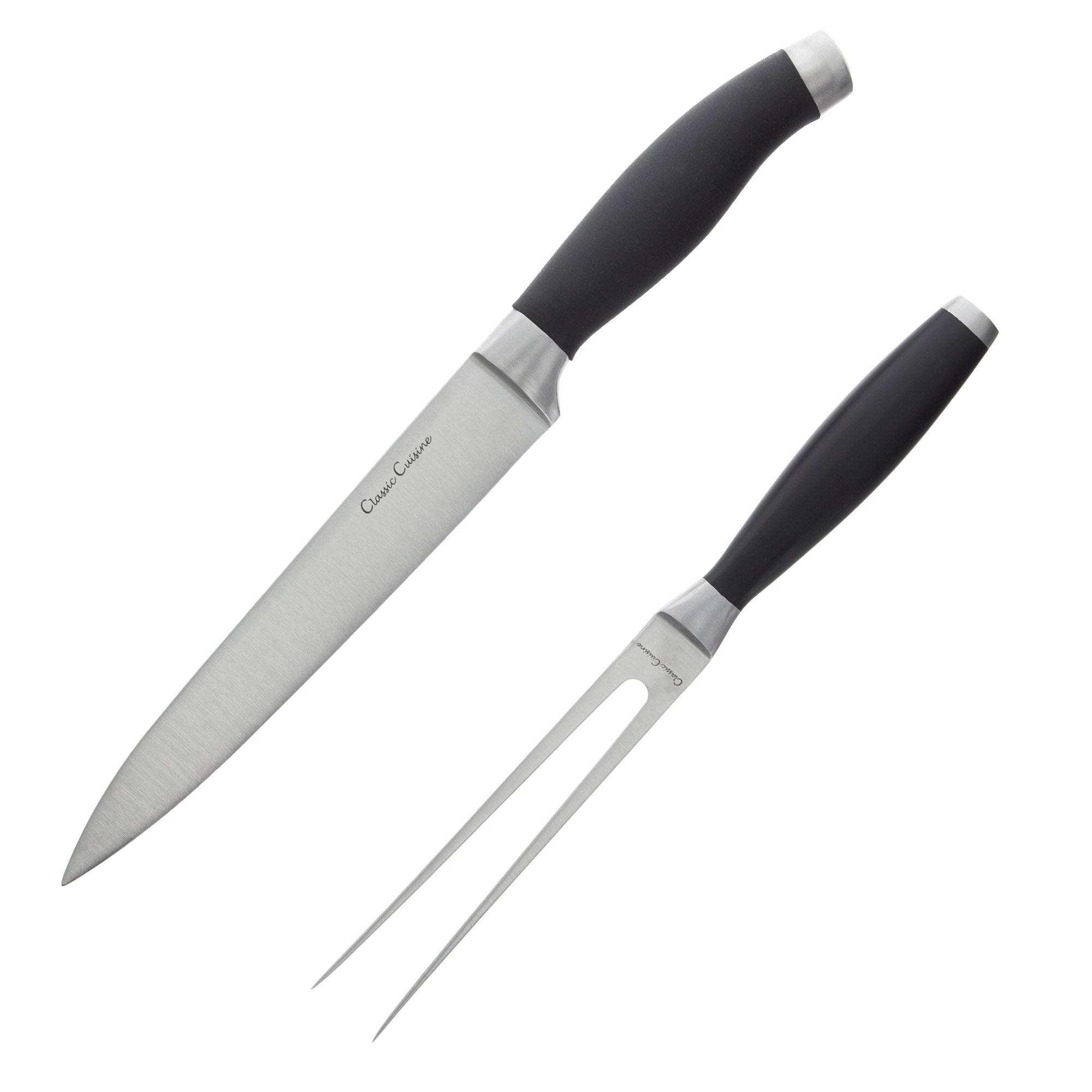 Professional Quality 2 Piece Carving Set Stainless Steel 8 inch Knife and Fork, Hand Forged for Home or Restaurant by Classic Cuisine by Classic Cuisine (Image #2)