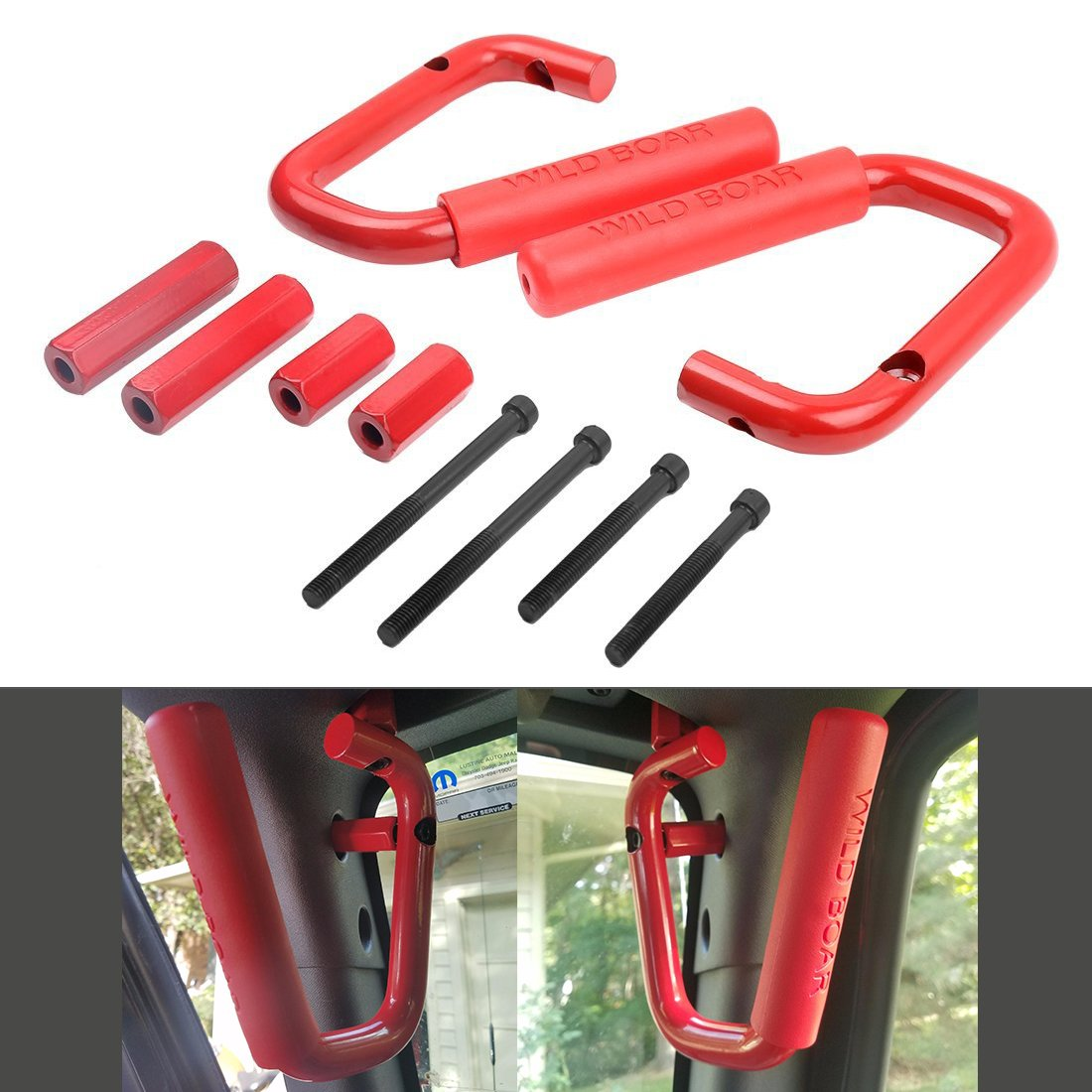 Black Solid Steel Rear Grab Handles Interior Side Grab Handle Bar for Jeep Wrangler Jk Rubicon Sahara Sport 2/4 Door 2007-2015 2Pcs SUPAREE JP015