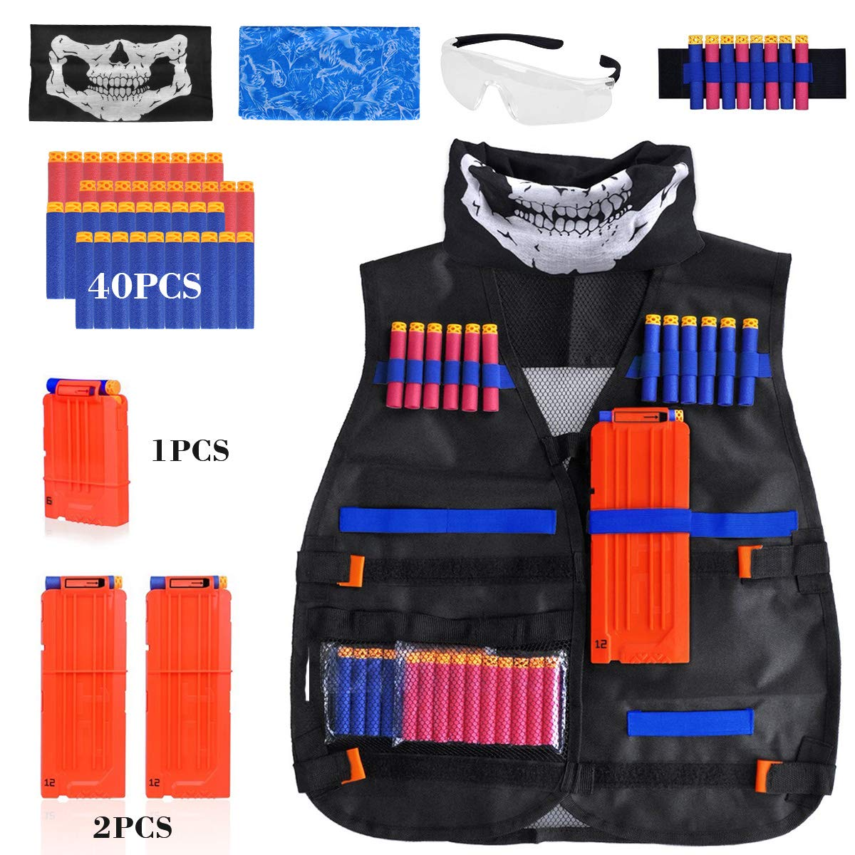 Kids Tactical Vest Kit for Nerf Guns N-Strike Elite Series, with 40 Pcs Refill Darts, 3 Reload Clips, 2 Face Tube Masks, 1 Hand Wrist Band and Protective Glasses