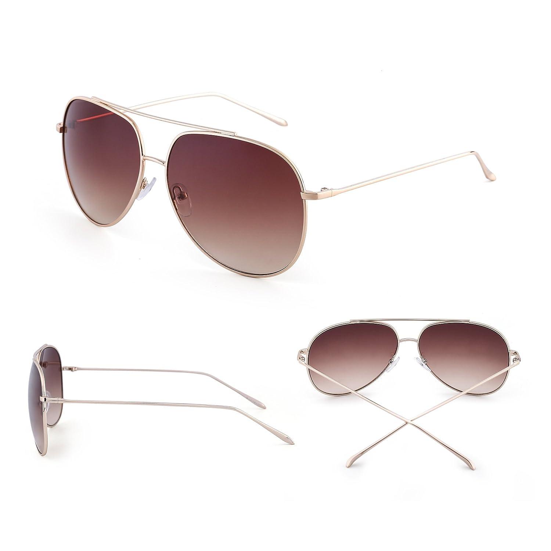 3be3f0df88 Amazon.com  Classic Oversized Aviator Sunglasses for Men Women Double  Bridge Gradient Lenses UV400 (Gold   Gradient Tawny)  Shoes