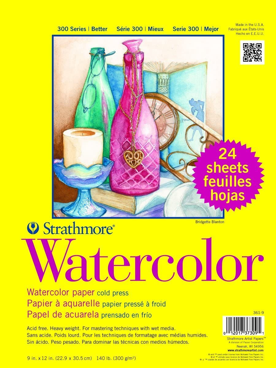 Strathmore Paper 300 Series Watercolor Class Pack, Cold Press, 1 Pack, Original Versio, 24 Sheets : Drawing Pads And Books : Office Products