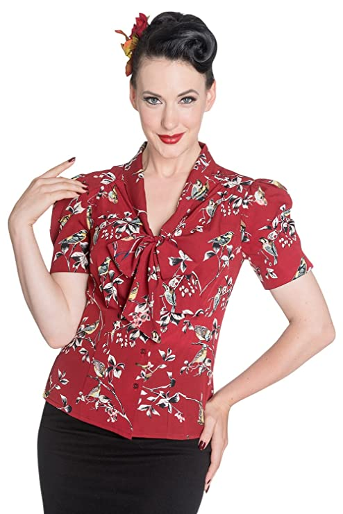 1940s Dresses and Clothing UK | 40s Shoes UK Hell Bunny Birdy 40s 50s Pin up Landgirl WW2 Retro Vintage Style Blouse �21.99 AT vintagedancer.com