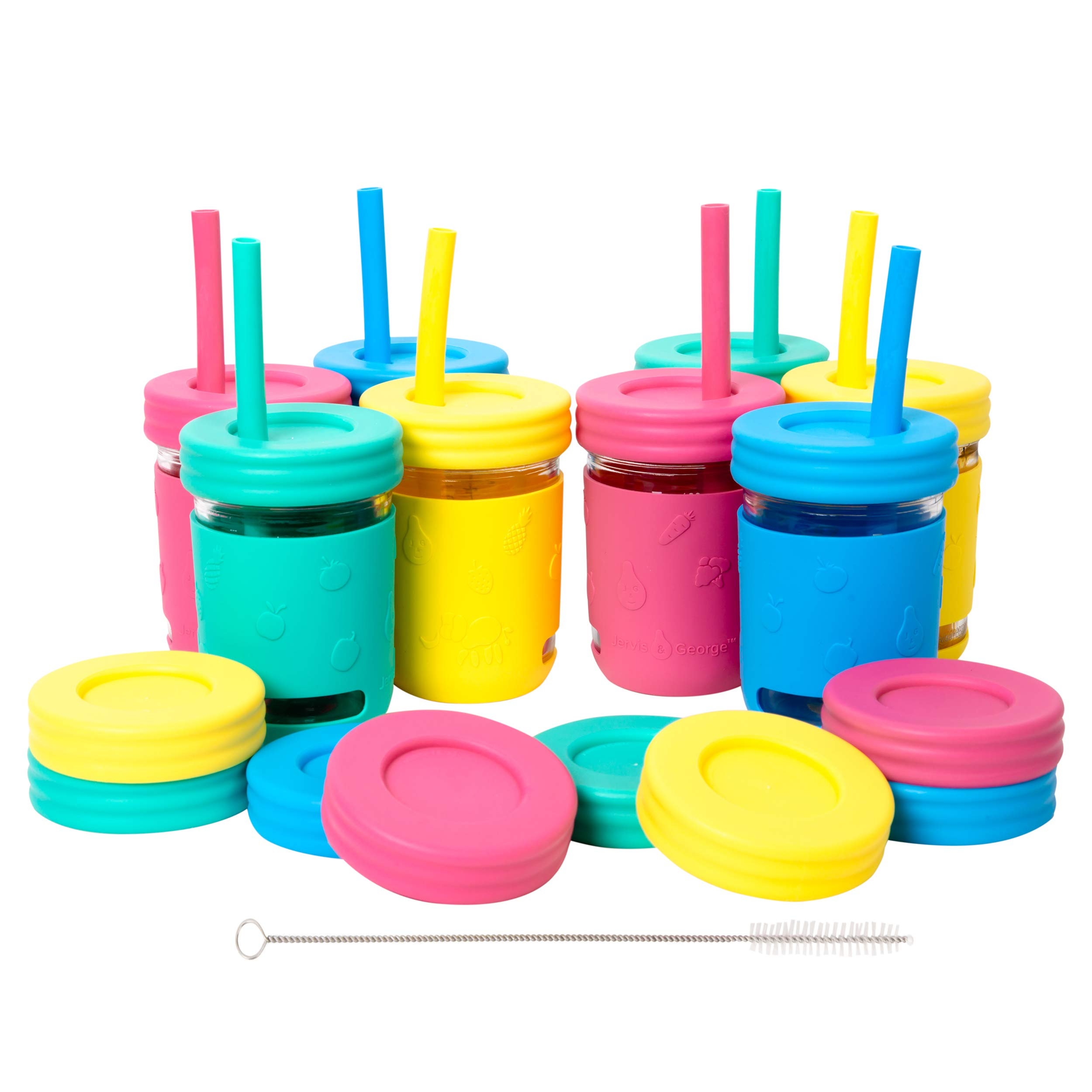 Kids 8oz Glass Mason Jar Drinking Cups with Silicone Sleeves + Straw Lids + Leak Proof Lids + Silicone Straws - Spill Proof, Sippy Cups for Toddlers, Kids Drinking Glasses, Food Storage-8 Pack