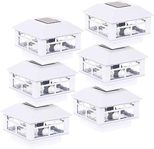 GreenLighting 6 Pack Modern Design Solar Powered 5 Lumen Post Cap Light for 4x4 or 5x5 Posts (White)