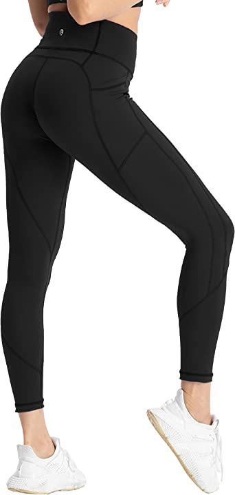 Amazon Com Coastal Rose Women S Yoga Pants 7 8 High Waist Workout Leggings Sport Compression Tights With Pocket Clothing