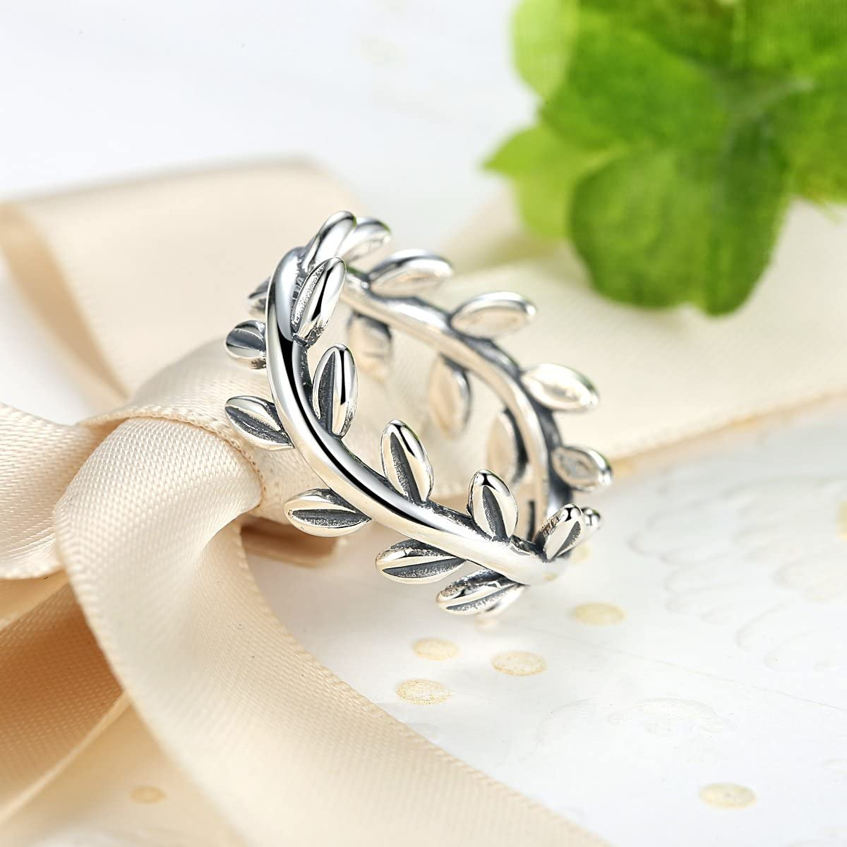 BAMOER 925 Sterling Silver Collection Laurel Wreath Leaves Promise Ring Design for Women Size 7 8