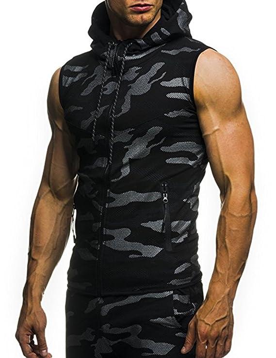 Amazon.com: MeterMall Unique Style Mens Camouflage Printed Drawstring Zipper Slim Fit Sleeveless Hoodie Black 2XL: Clothing