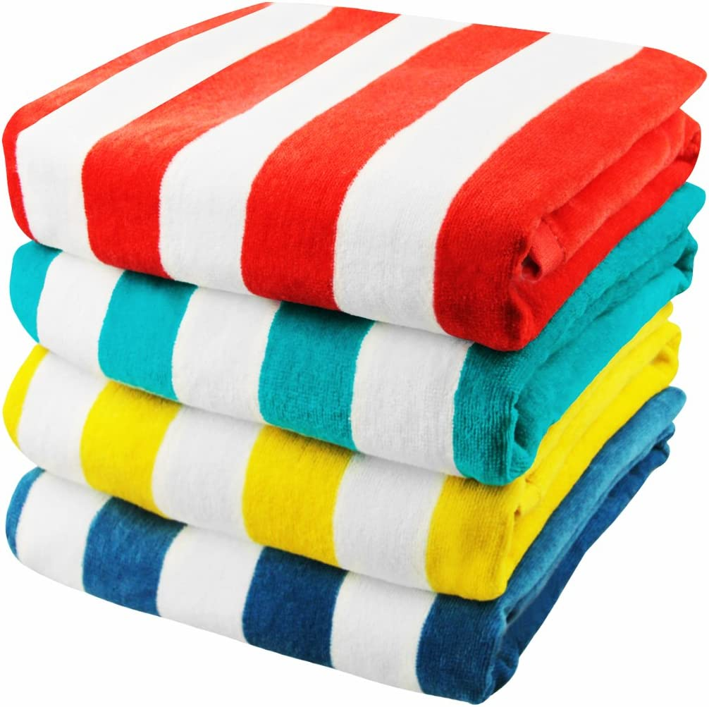 Exclusivo Mezcla 4-Pack 100% Cotton Cabana Striped Beach/Pool/Bath Towel