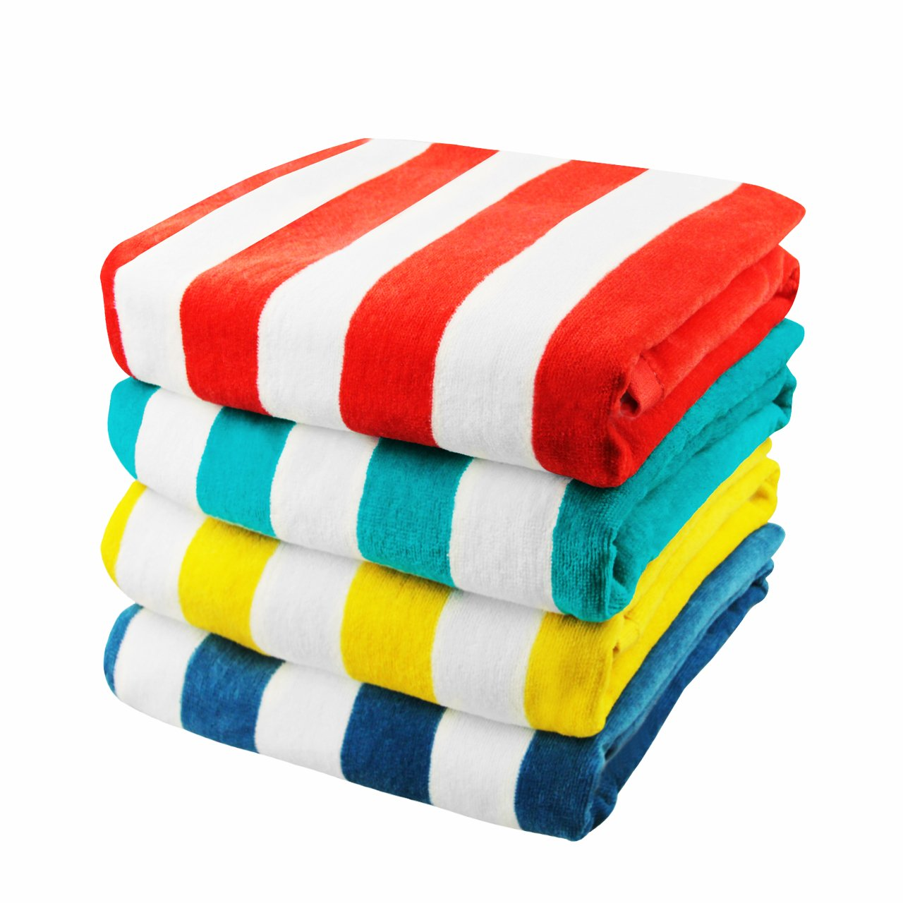 Exclusivo Mezcla 4-Pack 100% Cotton Cabana Striped Beach/Pool/ Bath Towel(30'' x 60'')—Soft, Quick Dry, Lightweight, Absorbent and Plush
