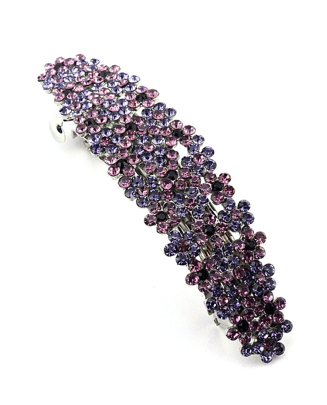 Women's Rhinestone Metal Hair Barrette Clip Hair Pin Antique Silver IMB2113, Purple